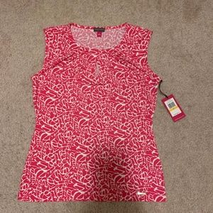 Sleeveless Top in red and white